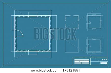 Apartment Floor simple Plan Blueprint with no furniture Top View. Vector illustration.