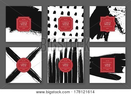 Set of creative freehand cards. Hand Drawn textures made with ink. Vector. Isolated.