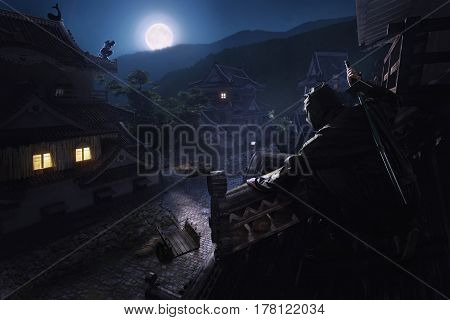 Japanese Ninja Samurai on the roof of the castle