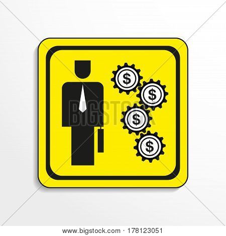 The funding mechanism. Vector icon. Black-and-white object on a yellow background.