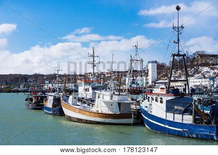 View to the Fishery port in Sassnitz Germany.