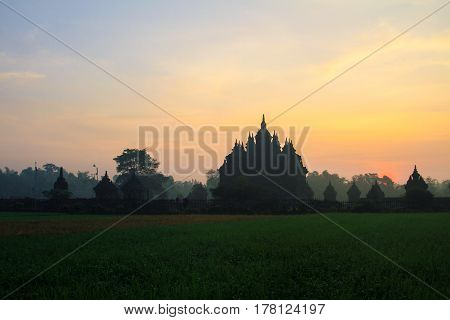 landscape view in the morning at Plaosan Temple jogjakarta Indonesia