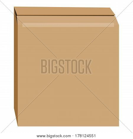 Cardboard box mockup. Realistic illustration of cardboard box vector mockup for web