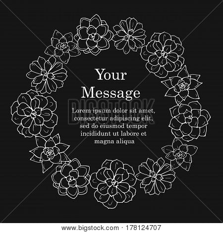 Funeral frame. Mourning illustration with succulent plant and place for your text. Black background