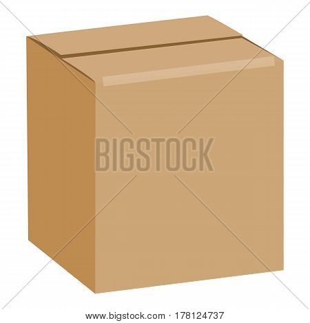 Brown sealed square box mockup. Realistic illustration of brown sealed square box vector mockup for web