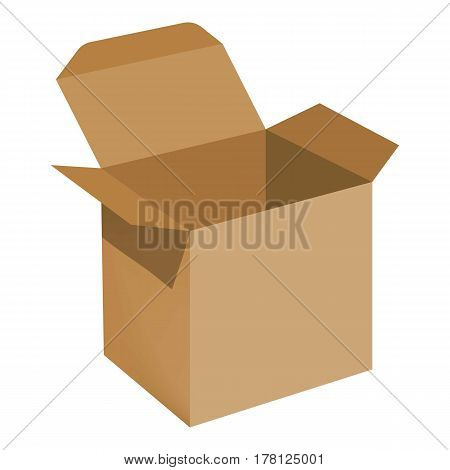 Opened brown carton box mockup. Realistic illustration of opened brown carton box vector mockup for web