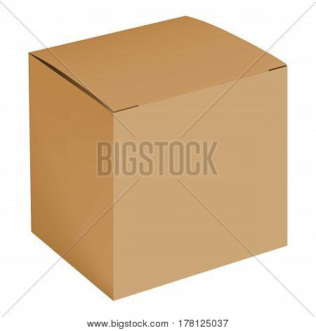 Blank cardboard box mockup. Realistic illustration of blank cardboard box vector mockup for web