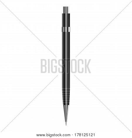 Black pen mockup. Realistic illustration of black pen vector mockup for web