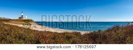 Panoramic view on Montauk Point State Park Lighthouse and the Atlantic Ocean. Long Island New York State