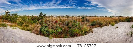 Panoramic view of Fire Island National Seashore in Fall with the Lighthouse. Long Island New York