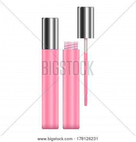 Lipstick pink sparkling tubes mockup. Realistic illustration of lipstick pink sparkling tubes vector mockup for web