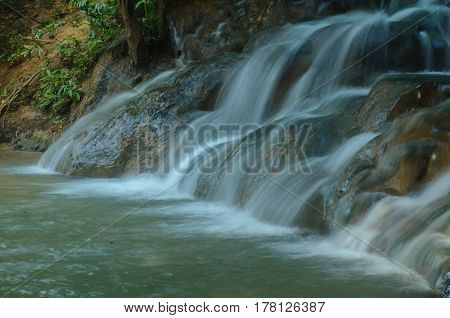 Nature Waterfall In Deep Forest