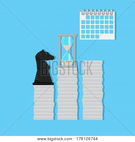 Strategy time and finance. Economic achievement tactical graphic management vector illustration