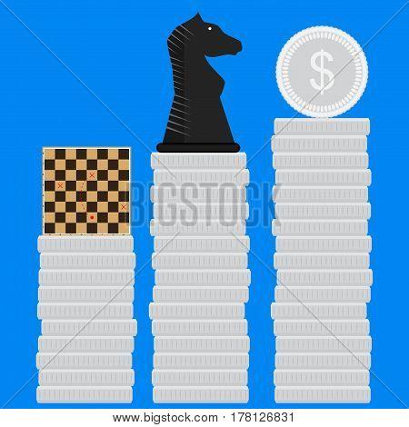 Strategies for making money. Innovation strategic on chessboard method organize and solve vector illustration
