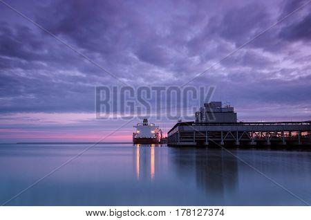 GAS TERMINAL - Sunrise over the sea port of Swinoujscie