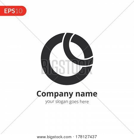 O letter logo vector design. Circle business logo. Monochrome sphere symbol element. Grey color icon on isolated white background.