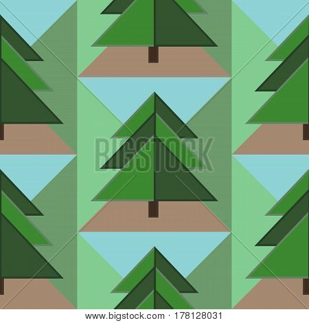Good Seamless Pattern with Green Firs, Brown Ground and Blue Sky Elements