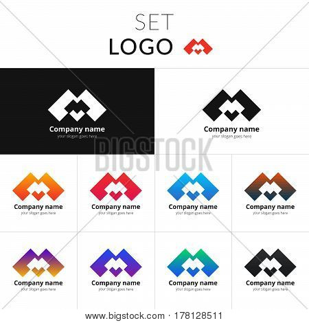 Letter M logo. Set double icon M with colorful gradient background. Vector sign on black and white color. Creative vision concept logo, elements, symbol for card.