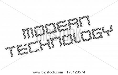Modern Technology rubber stamp. Grunge design with dust scratches. Effects can be easily removed for a clean, crisp look. Color is easily changed.