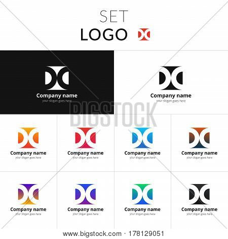 Letter D logo. Set double icon D with colorful gradient background. Vector sign circle on black and white color. Creative vision concept logo, elements, symbol for card.