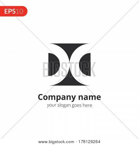 D letter logo vector design. Abstract circle business logo. Monochrome sphere symbol element. Grey color icon on isolated white background.