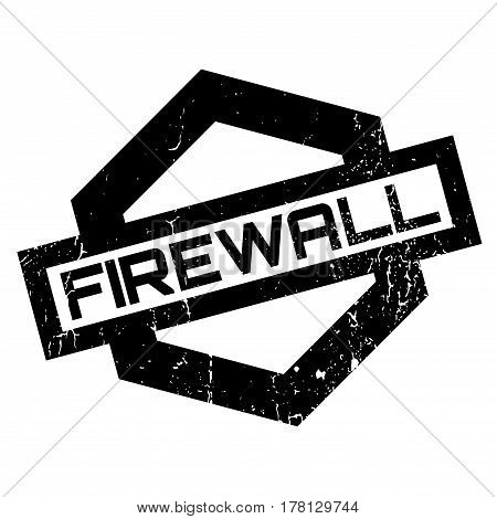 Firewall rubber stamp. Grunge design with dust scratches. Effects can be easily removed for a clean, crisp look. Color is easily changed.