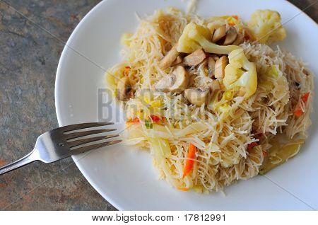 Vegetarian Noodles With Fork