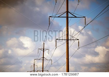 high-voltage power line .Power supply line at sunset
