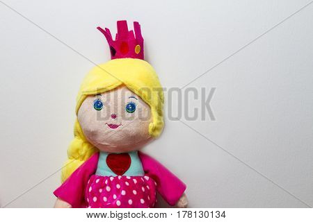 Close Up Of A Cute Princess Doll On White Background.