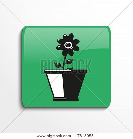 Flower in a pot. Symbol. Vector icon. Two-color view with shadow. Isolated object.