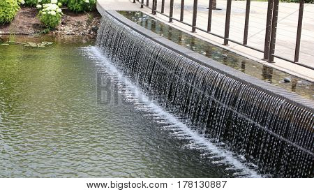 Beautiful outdoor Water Curtain Fountains in summer time