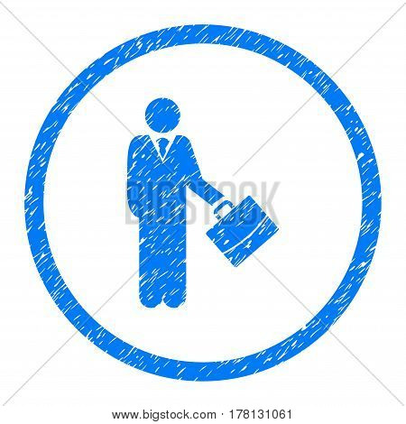 Businessman grainy textured icon inside circle for overlay watermark stamps. Flat symbol with dust texture. Circled dotted vector blue ink rubber seal stamp with grunge design on a white background.