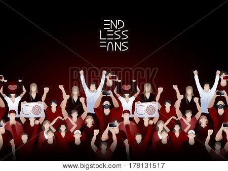 Crowd of cheering fans. Cyber sport concept. Vector endless border