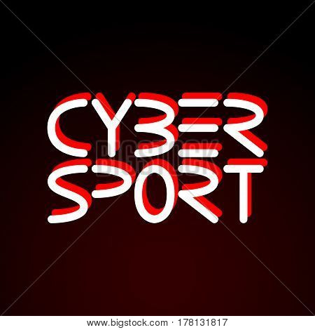 Cyber sport. Vector phrase written in minimalistic style isolated on dark background.