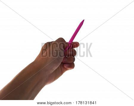 hand catch pink pen for write on white background.