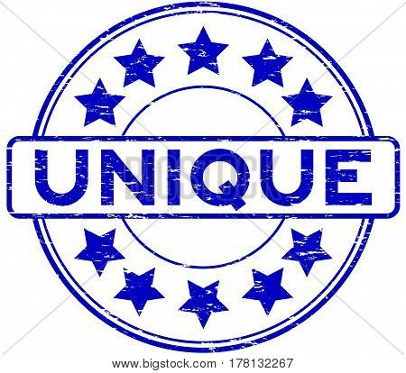 Grunge blue unique with star icon round rubber seal stamp on white background