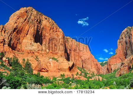 Towering Rocks At Zion Np