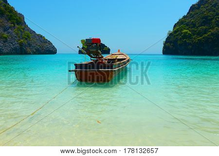 Tropical Island with Clear Sea and Blue Sky for  Travel in Myanmar