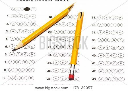 Standardized Test Form With Answers And A Broken Pencil
