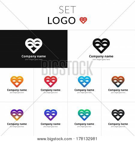 Heart logo set vector design. Love with loop icon symbol. Valentine's Day sign, emblem isolated on gradient background. Flat style for graphic and web design, logo.