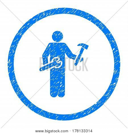 Serviceman grainy textured icon inside circle for overlay watermark stamps. Flat symbol with dust texture. Circled dotted vector blue ink rubber seal stamp with grunge design on a white background.