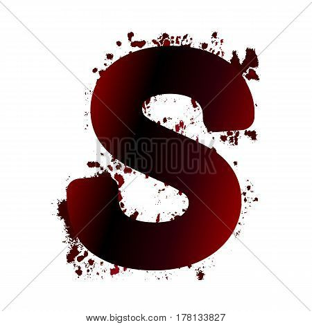 Dirty Bloody Letter S With Spots. Grunge Alphabet. Scary Letters For Halloween