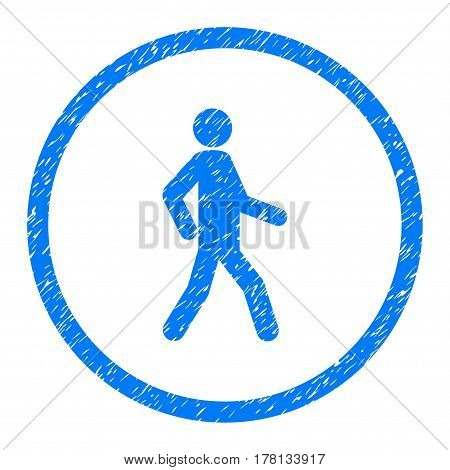 Walking Person grainy textured icon inside circle for overlay watermark stamps. Flat symbol with dirty texture.