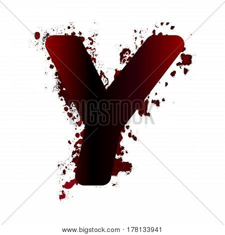 Dirty Bloody Letter Y With Spots. Grunge Alphabet. Scary Letters For Halloween
