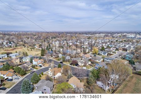 aerial view of a typical residential area along Front Range in Colorado - Fort Collins in early spring