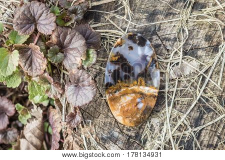 Macro close-up photography of natural gem stone moss agate lying on the wooden surface