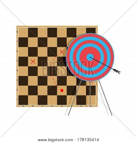 Tactic to goal. Bullseye arrow professional vector illustration