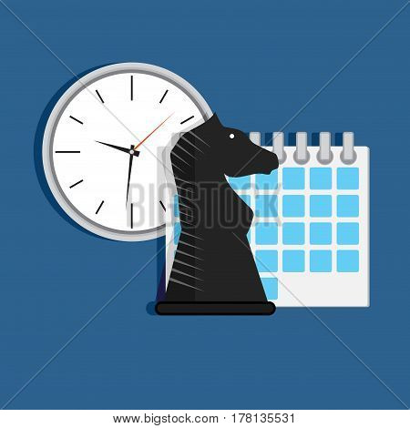Strategy time organization. Concep tactic and optimization conceptual process organization vector illustration