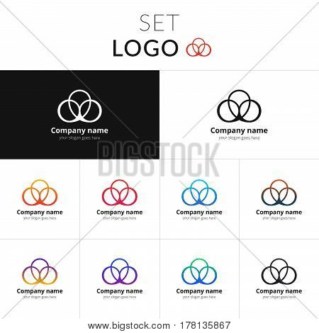 Logo abstract vector design. Three circle identity set icon for company or brand on gradient background. Colorful emblem on isolated white background.