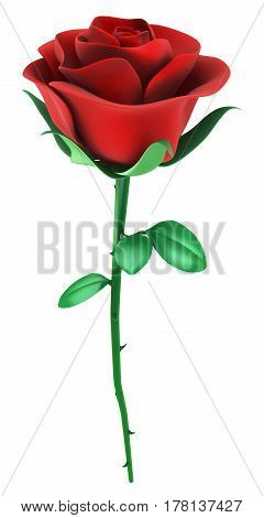 Red rose object isolated 3d illustration vertical